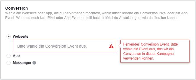 Screenshot: Auswahl des Conversion Events in einer Facebook Werbeanzeigengruppe