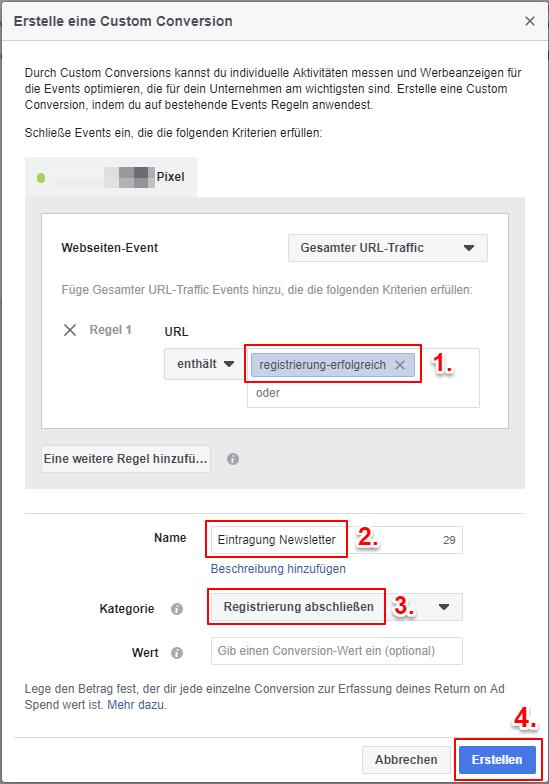 Screenshot: Dialogfeld Custom Conversion erstellen