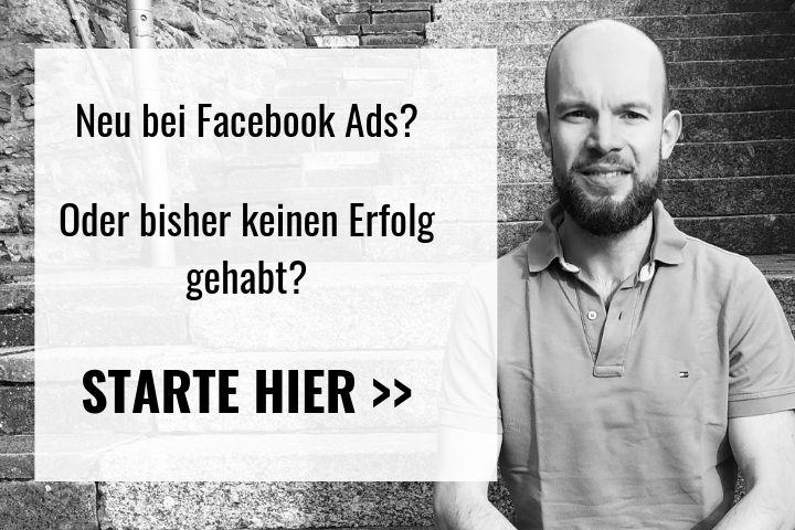 """Florian Gehring auf der rechten Seite, links ein Textfeld, das den Besucher auffordert """"hier"""" zu starten"""