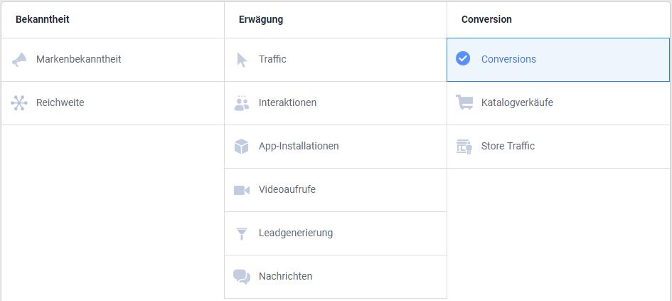 Screenshot der möglichen Ziele einer Facebook-Werbekampagne