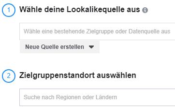 Screenshot: Quelle und Standort für Lookalike Audience auswählen
