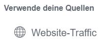 Screenshot: Traffic als Quelle für Facebook Custom Audience
