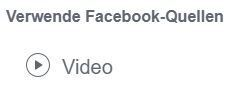 Screenshot: Video als Quelle für Facebook Custom Audience