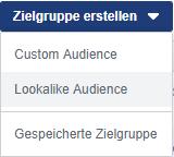 Screenshot anlegen einer Lookalike Audience auf Facebook